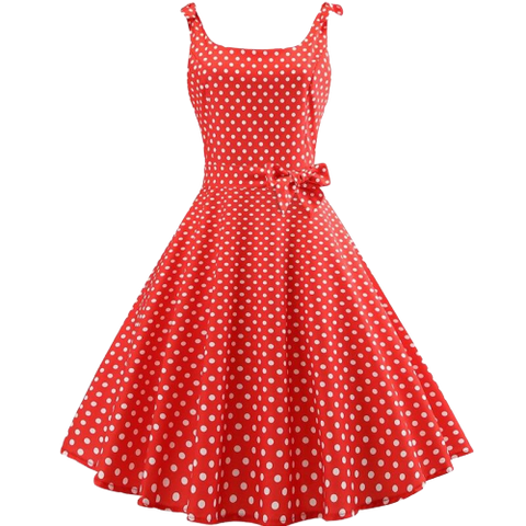 robe style annee 50 rouge a pois