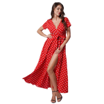 longue robe rouge a pois blancs