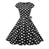 robe cocktail annees 50 60 retro a pois courte