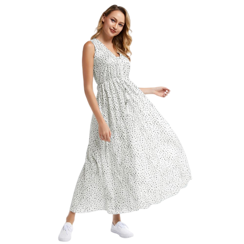 robe blanche a pois longue