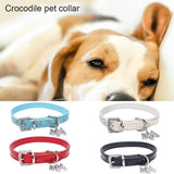 Pet Cats Collar Crocodile & Dogs Leather Belt Grain Buckle with Bling Accessories Elegant Sparkling for Dogs and Cats