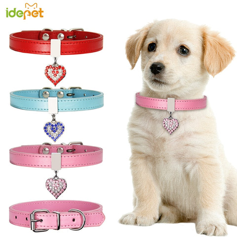 Dog Collars / Leather/Diamante for Small Dogs