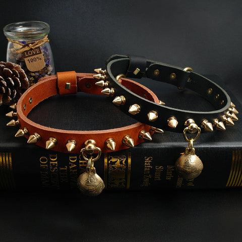 Cool Spiked/Studded Genuine Leather Dog Collar