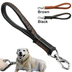 "Real Leather Dog Leash Short Dog Leash Genuine Leather Traffic Lead for Large Dogs Training and Walking Heavy Duty 3/4"" wide"