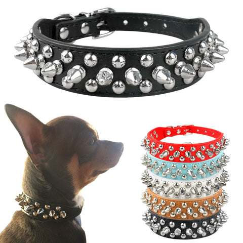 Cool Spiked/ Studded PU Leather Dog/Cat Collar