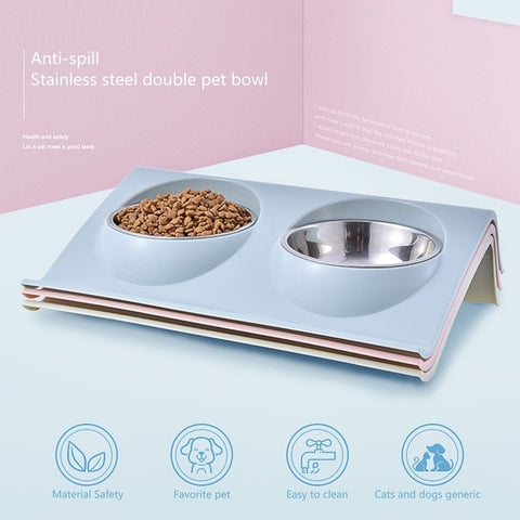 Double Dog Cat Stainless Steel Bowls.