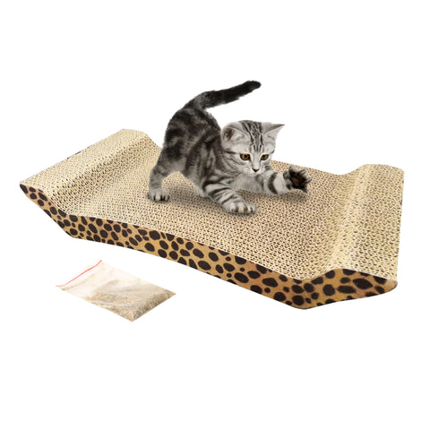Big Cat Toy Climbing Frame Cat Toy Scratching Corrugated Board Grinding Claw Plate Catnip With Catnip Leopard Print Pattern