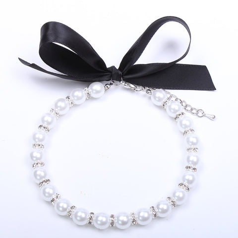 Cat/Dog - Pearl Necklace / Collar with Bling