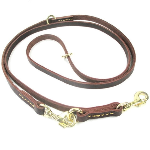 Multifunctional Adjustable two Dog Leash Genuine Leather
