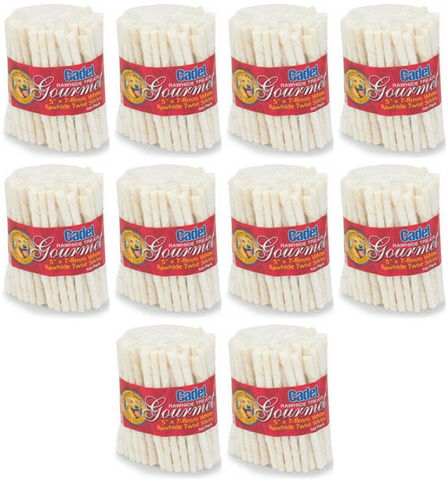 Cadet Rawhide Twist Stick Dog Chews, 5 Inch x 7-8 millimeter, 100 Count, 10 Pack