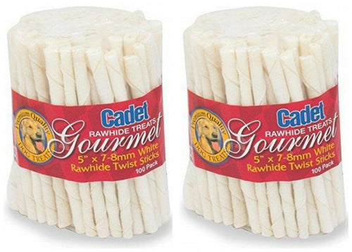 Cadet Rawhide Twist Stick Dog Chews, 5 Inch x 7-8 millimeter, 100 Count, 2 Pack