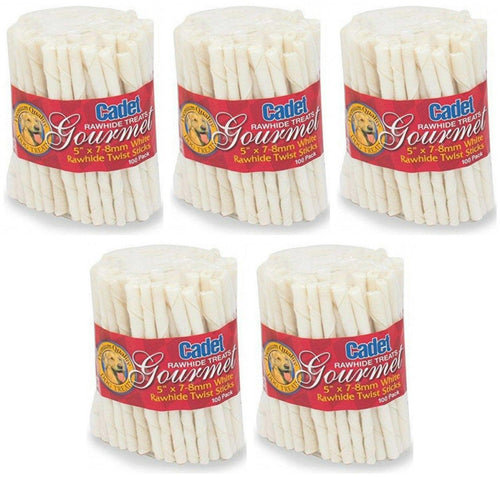 Cadet Rawhide Twist Stick Dog Chews, 5 Inch x 7-8 millimeter, 100 Count, 5 Pack
