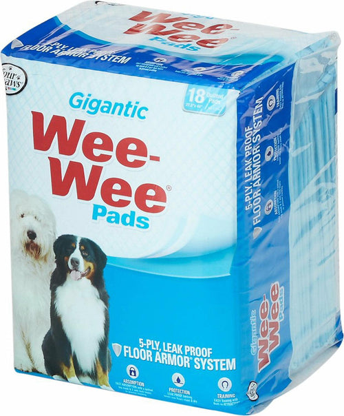 Four Paws Wee Wee Pads, Gigantic 27.5x44 Inch, 18 Count, 8 Pack