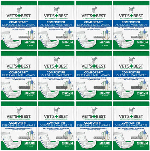 Vet's Best Male Wraps for Dogs, Comfort-Fit Disposable, Medium, 12 Count, 12 Pack