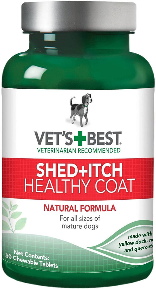 Vet's Best Shed + Itch Healthy Coat Chewable Tablets for Dogs, 50 Count, 12 Pack