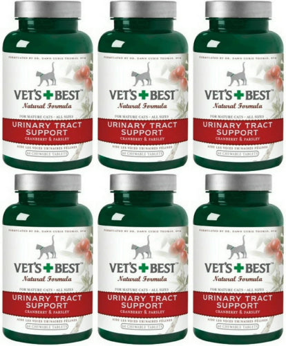 Vet's Best Urinary Tract Support Chewable Tablets for Cats, 60 Count, 6 Pack