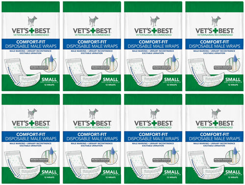 Vet's Best Male Wraps for Dogs, Comfort-Fit Disposable, Small, 12 Count, 8 Pack