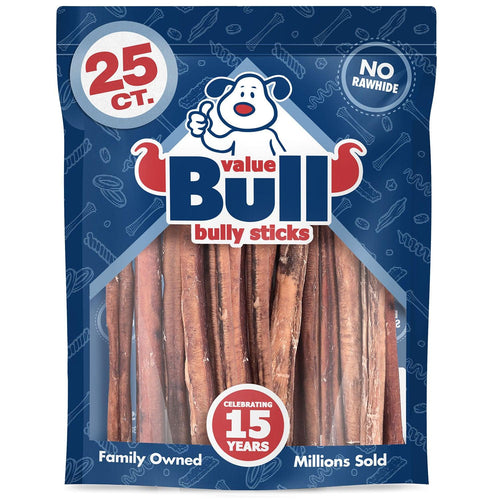 ValueBull Bully Sticks for Dogs, Jumbo 12 Inch, 25 Count
