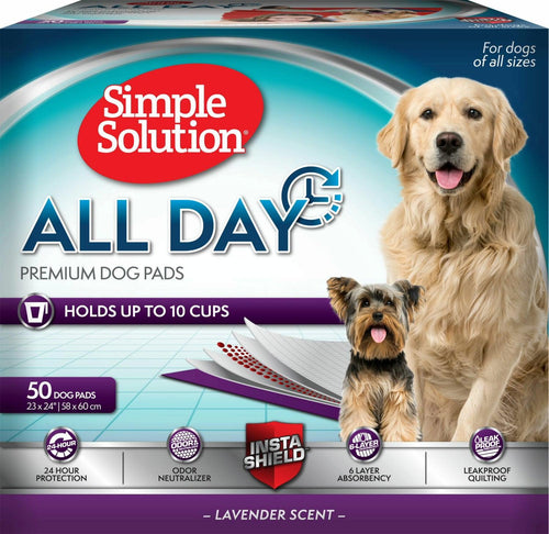 Simple Solution Training Pads for Dogs, All Day Premium, Lavender, 23x24 Inch, 50 Count