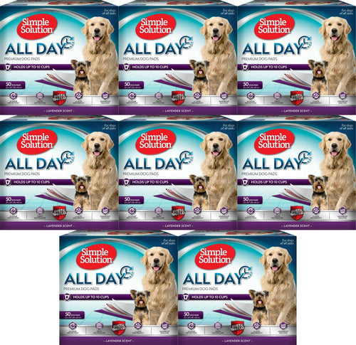 Simple Solution Training Pads for Dogs, All Day Premium, Lavender, 23x24 Inch, 50 Count, 8 Pack