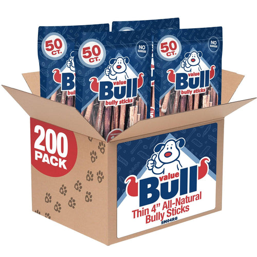 ValueBull Bully Sticks for Small Dogs, Thin 4 Inch, 200 Count