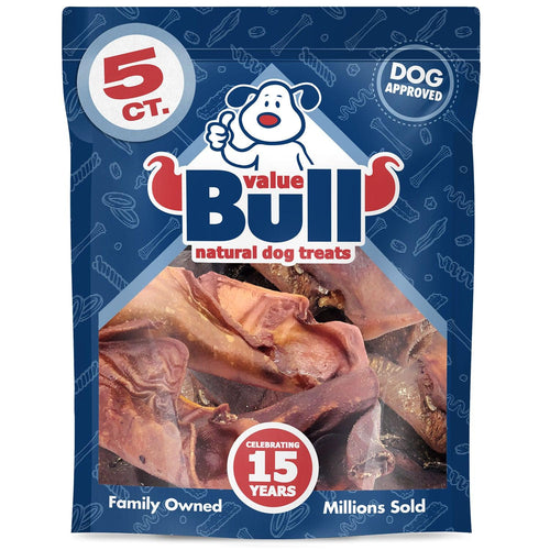 ValueBull USA Premium Pig Ears Dog Chews, 5 Count