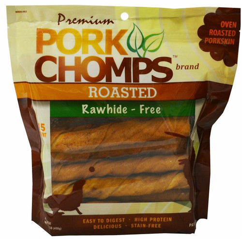 Premium Pork Chomps Roasted Twistz Pork Dog Treats, Large, 15 Count, 6 Pack