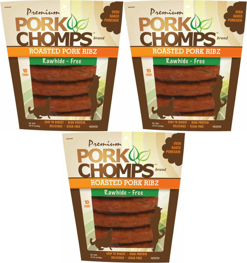 Premium Pork Chomps Roasted Ribz Dog Treats, Pork, 10 Count, 3 Pack