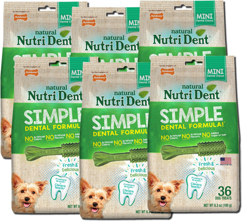 Nylabone Nutri Dent Simple Dental Treats for Dogs, Mini, 36 Count, 6 Pack