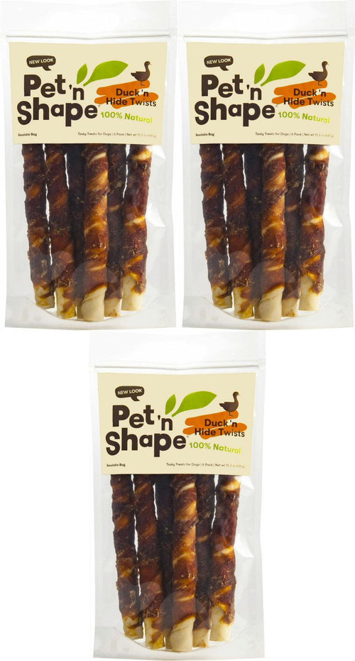 Pet 'n Shape Duck Hide Twists Dog Treats, 10 Inch, 6 Count, 3 Pack