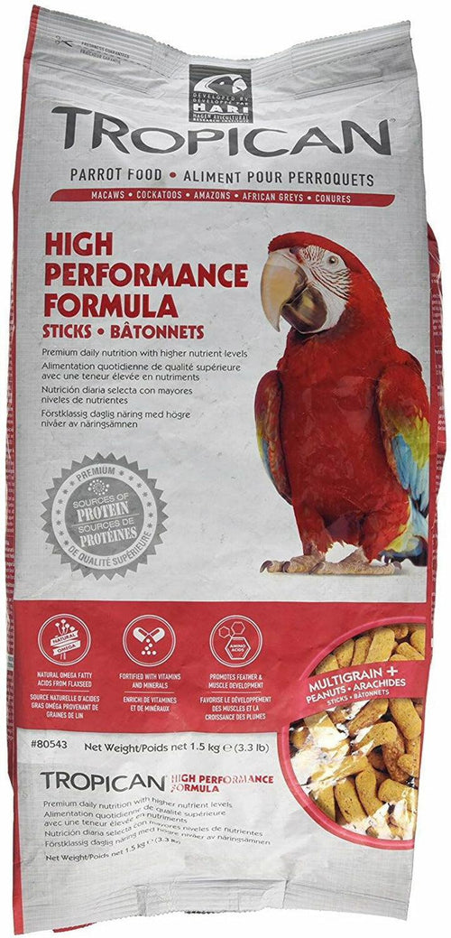 Tropican High Performance Formula Sticks Parrot Food, 3.3 Pound, 4 Pack
