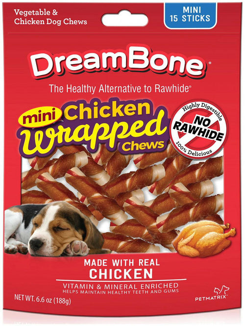DreamBone Chicken Wrapped Sticks Dog Chews, Mini, 15 Count, 12 Pack