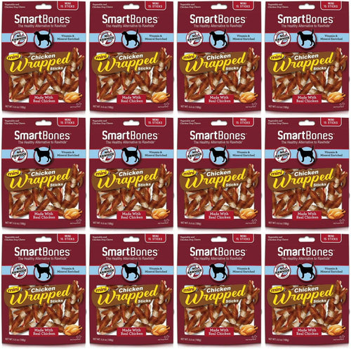 SmartBones Chicken Wrapped Sticks Dog Chews, Chicken, Mini, 15 Count, 12 Pack