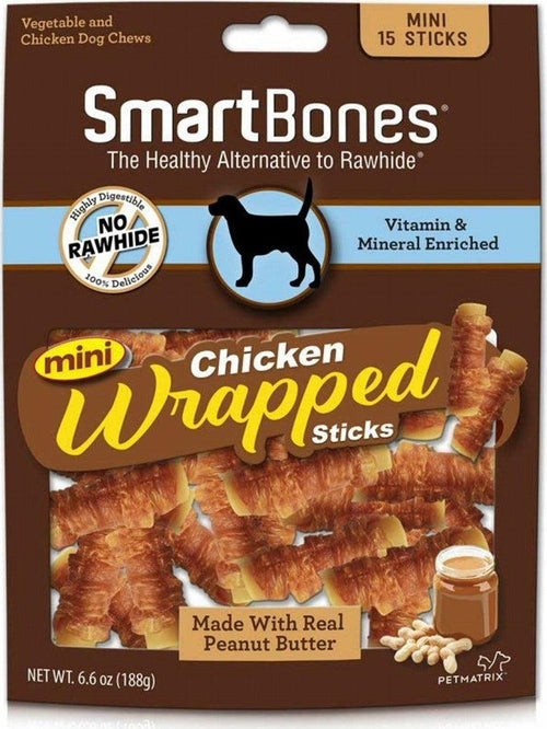 SmartBones Chicken Wrapped Sticks Dog Chews, Peanut Butter, Mini, 15 Count, 12 Pack