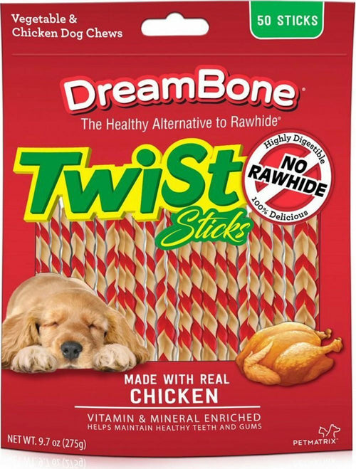 DreamBone Twist Sticks Dog Chews Chicken 150ct (3 x 50ct)