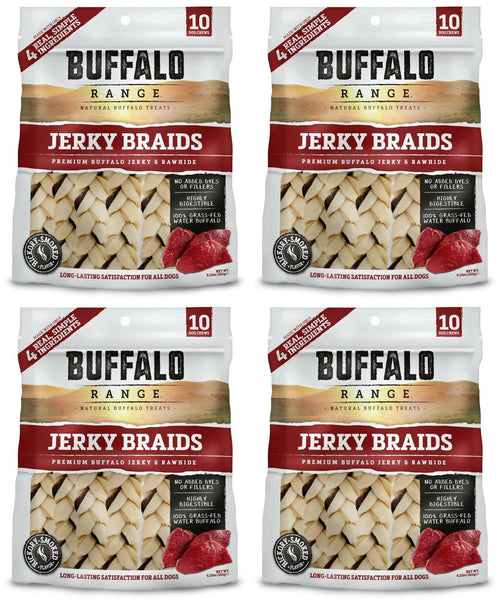 Buffalo Range Jerky Braids Treats for Dogs, Jerky & Rawhide, All Natural, 10 Count, 4 Pack