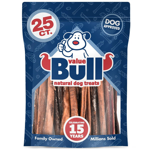 ValueBull Bully Sticks for Dogs, Medium 5 Inch, 25 Count