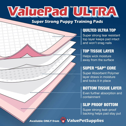 ValuePad Ultra Puppy Pads, Large 28x30 Inch, 10 Count