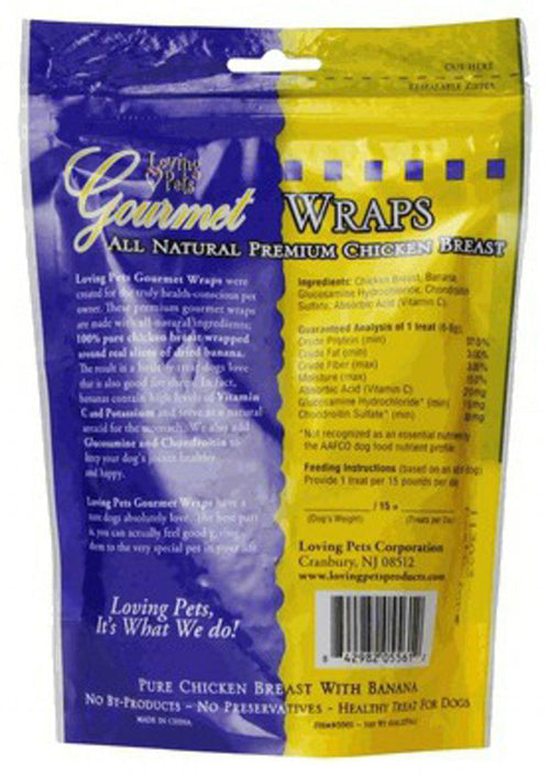 Loving Pets Banana & Chicken Wraps Dog Treats, Gourmet All Natural, 6 Ounce, 48 Pack