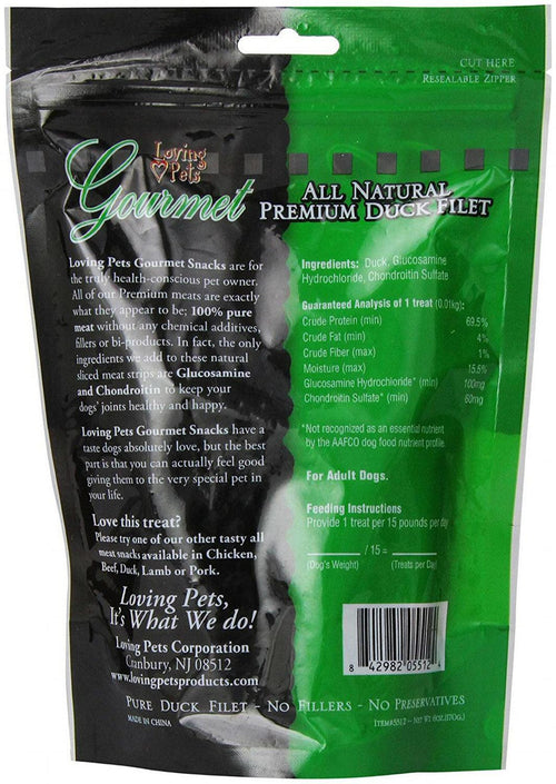 Loving Pets Duck Filet Strips Dog Chews, Gourmet All Natural Premium, 6 Ounce