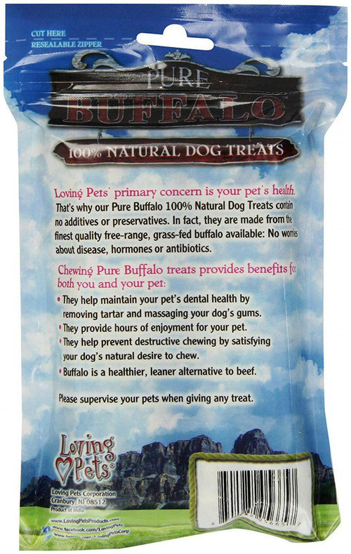 Loving Pets Pressed Bully Bones, 6 Inch, Pure Buffalo, 2 Count, 12 Pack