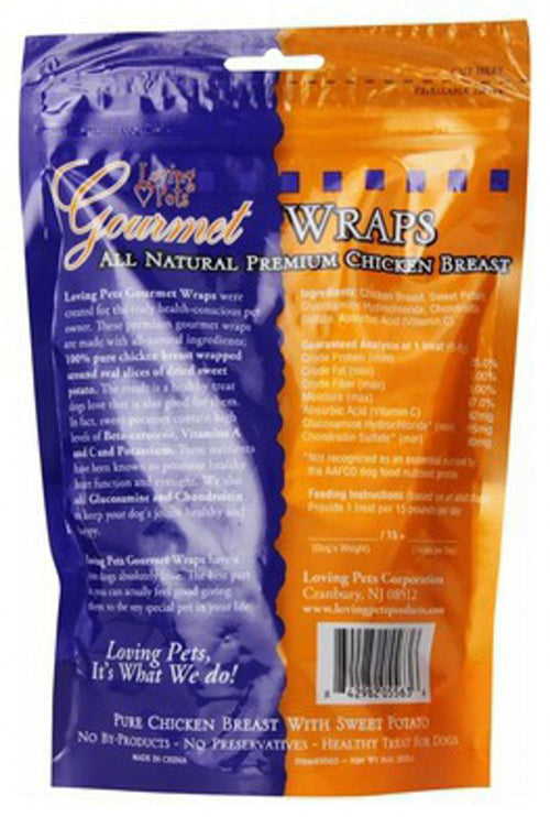 Loving Pets Sweet Potato & Chicken Wraps Dog Treats, Gourmet All Natural, 8 Ounce, 24 Pack