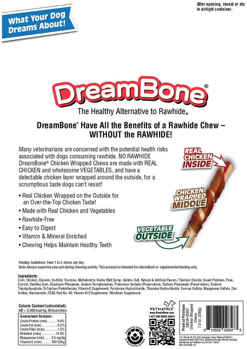 DreamBone Chicken Wrapped Sticks Dog Chews, Large, 8 Count, 6 Pack