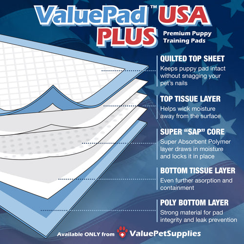 ValuePad USA Puppy Pads, Small 17x24 Inch, Economy, 900 Count