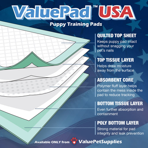 ValuePad USA Plus Puppy Pads, Extra Large 30x36 Inch, 100 Count