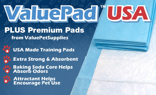 ValuePad USA Puppy Pads, Medium 23x24 Inch, Polymer Attractant Baking Soda, 200 Count
