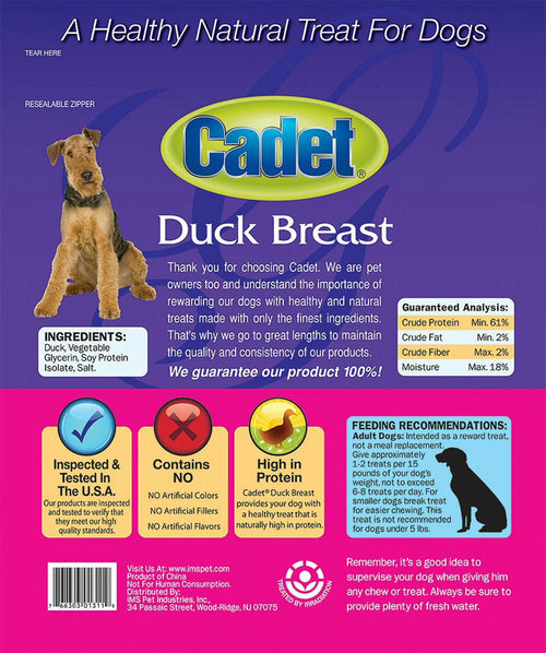 Cadet Duck Breast Dog Treats, Gourmet, 1.75 Pound, 8 Pack