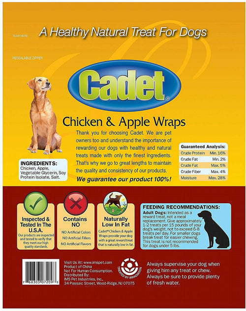 Cadet Chicken & Apple Wraps Dog Chews, Gourmet, 14 Ounce