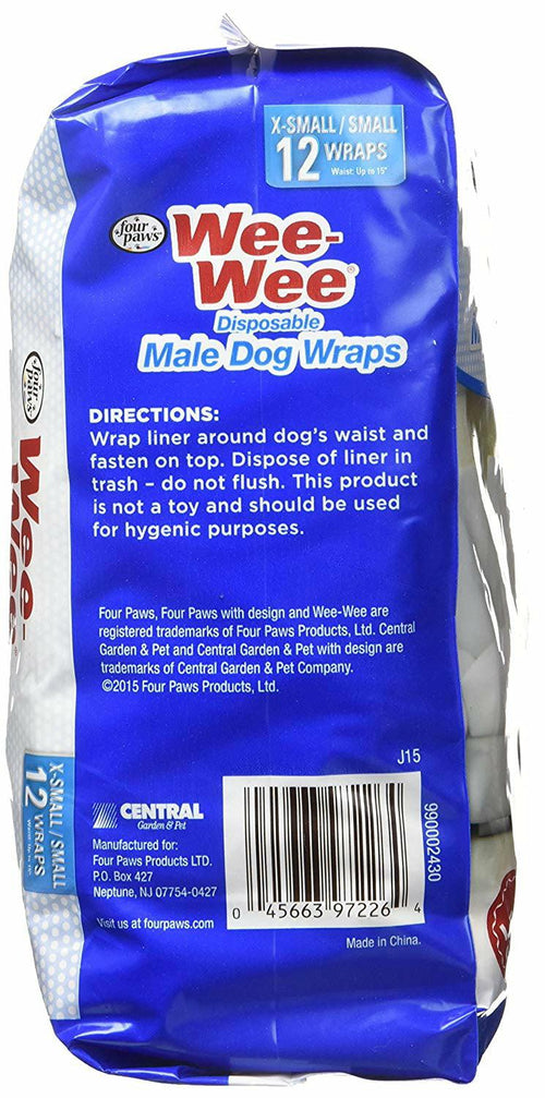 Four Paws Wee-Wee Disposable Male Dog Wraps, X-Small/Small 576ct (48 x 12ct)