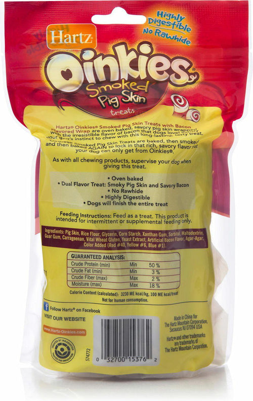 Hartz Oinkies Smoked Pig Skin Treats w/ Bacon, 8 Count